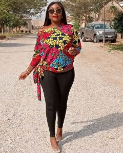 one side off shoulder ankara blouse with trousers for young celebrity ladies