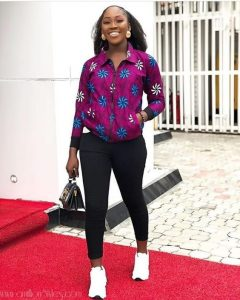 cute ankara shirt jacket with trousers for ladies