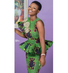 cute ankara short sleeve peplum gown with long skirt for young ladies, wedding and church fashion style