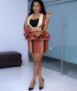amazing ankara peplum suit blouse with hot mini skirt for young celebrity ladies