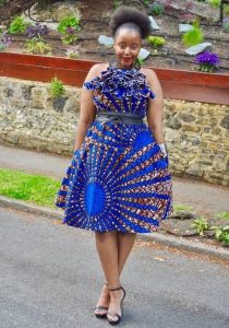 stylish short sleeve, short ankara gown for young ladies