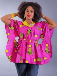 special african print boubou blouse with denim jeans for young celebrity ladies