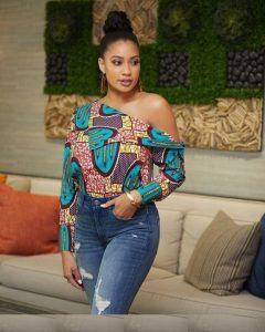 one side off shoulder african print blouse with denim jeans trousers for ladies