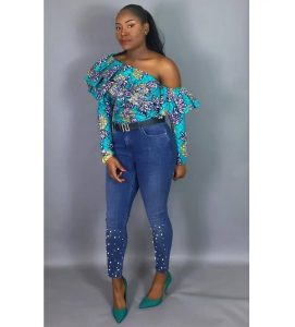 ankara one side off shoulder, long sleeve blouse with denim jeans for young celebrity ladies