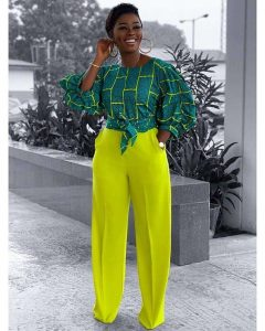 special ankara crop top with palazzo trousers for classy young ladies