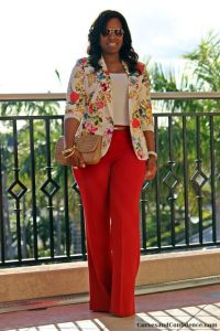floral ankara suit blouse with palazzo trousers for young ladies