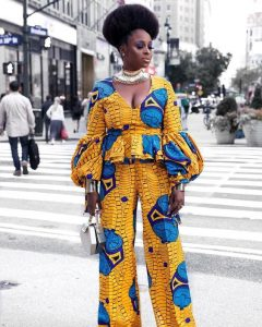 special long puff sleeved ankara blouse with palazzo trousers for classy ladies