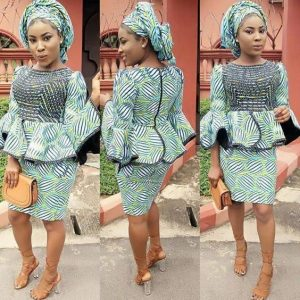 ankara peplum blouse with short skirt for young ladies, church fashion style