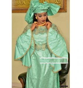 plain ankara boubou gown style with hair tie, embroidered