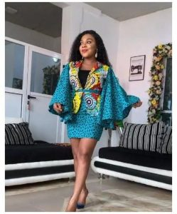 stylish ankara short skirt and blouse for young ladies