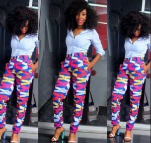 cute ankara shirt and trousers style for slim, young ladies