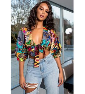ankara crop top with ripped jeans styles for celebrity young ladies