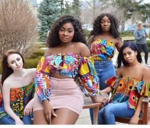 off shoulder ankara crop top with high waist short skirt and jeans trousers styles for young ladies