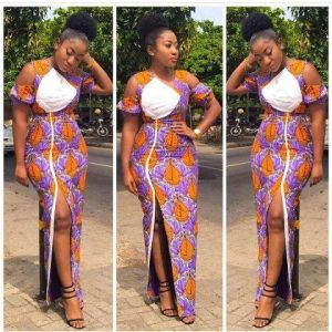 long, split ankara gown style for curvy young ladies