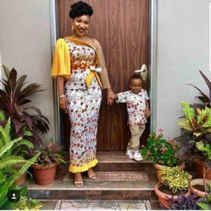stylishly sleeved ankara long gown for young ladies, mother and son ankara match