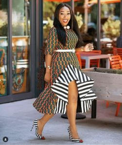 cute, front slit ankara gown with belt for young celebrity ladies