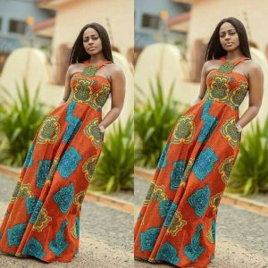 fitted long ankara gown for curvy young ladies