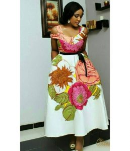 short sleeve floral ankara long, flay gown with waist belt for young ladies