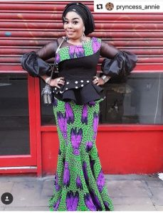 puff sleeved stylish african print peplum blouse with long knee flay skirt for young ladies