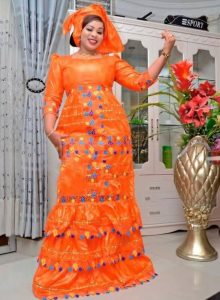 beautiful ankara lace long gown for curvy young ladies