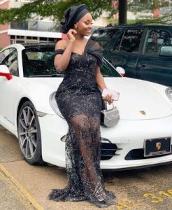 stylish, short sleeve ankara lace gown style for wedding