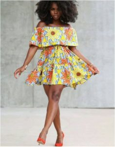 stylish, off shoulder short ankara flay gown with cape for young ladies