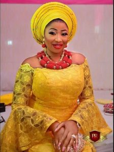 off shoulder ankara lace gown with gele hair tie, wedding fashion style for young ladies