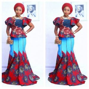 classy ankara blouse with long knee flay skirt, with gele hair tie for young ladies, wedding and church fashion style