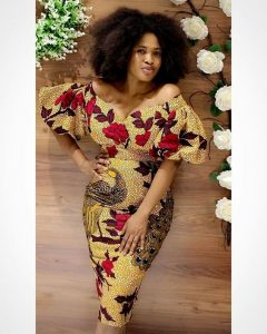 short ankara pencil gown style for young curvy ladies, off shoulder