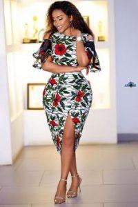 short split ankara gown style for curvy ladies