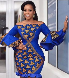 off shoulder ankara peplum short gown for curvy young ladies