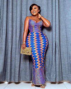 ankara short sleeve long gown for curvy beauty queens