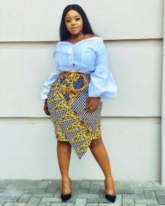 stylish ankara skirt and blouse for curvy ladies