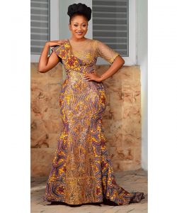 long ankara gown for beautiful curvy ladies, beauty pageantry style