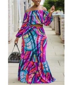 off shoulder crop top with long maxi skirt for young curvy ladies