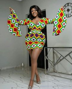 short ankara gown for slim, tall curvy ladies, with funnel sleeve style