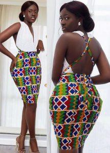 ankara show back, short gown for curvy black ladies