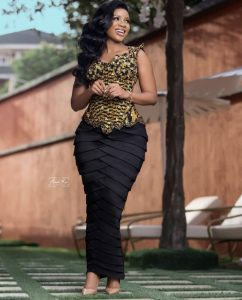 classy ankara blouse with long skirt for curvy, young, beautiful ladies