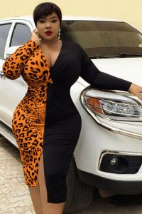 ankara long sleeve gown style for curvy, busty ladies
