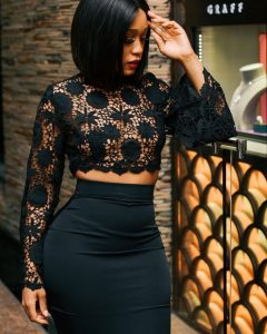 long sleeve ankara lace crop top with high waist skirt for young curvy ladies