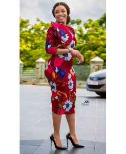 classy ankara floral gown style for curvy ladies