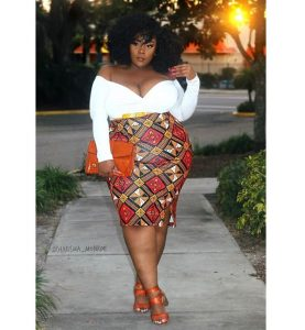 off shoulder long sleeve top with short pencil ankara skirt plus size, busty, curvy ladies