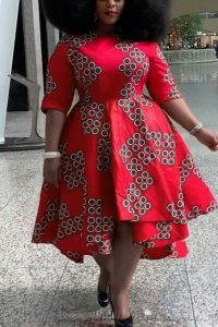 stylish ankara short gown for plus size curvy ladies