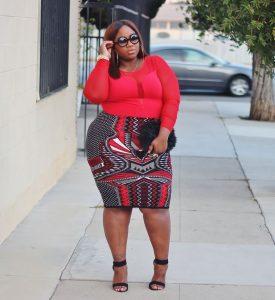 long sleeve blouse with short ankara pencil skirt for chubby curvy ladies