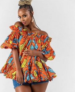 off shoulder ankara blouse with jeans bum short for chubby young ladies