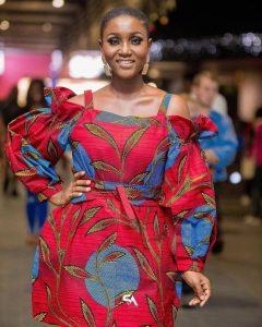big ladies stylish short ankara gown