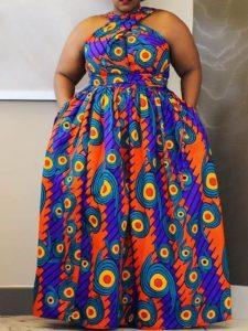 short sleeve ankara maxi gown for plus size ladies