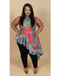 tilted ankara long blouse with trousers for chubby ladies
