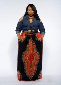 jeans crop top with long maxi skirt for plus size ladies