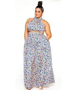 stylish ankara crop top with long maxi skirt for chubby, busty ladies